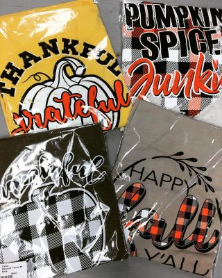 $5 Fall T-shirts in select sizes!! #maryannswholesale #seasonalwear #boutiquestyle Not open to the public
