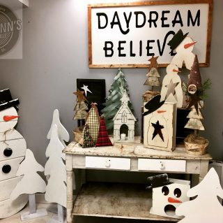 Anybody else remembering childhood Christmas shows when you see this booth? We love these handcrafted products! #maryannswholesale #rusticjunction #seasonaldecor #christmasdecor Not open to the public